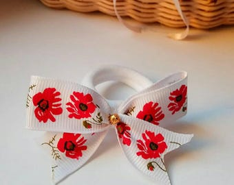 Pair of scrunchie with poppies and bow,scrunchies bow,two scrunchies,elastic for hair, poppies,children scrunchies,white scrunchie,hair tie