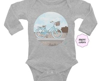 Beach Cruiser Long Sleeve Onesie      Bicycle Onesie   Bike Infant Onesie   Beach Baby Onesie   Vacation Long Sleeve Baby Onesie   Vacay