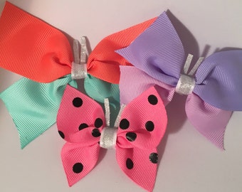 butterfly bow, small bow, baby bow, toddler bow, rainbow bow, butterflies, butterfly birthday, bows for girls, hair bows for girl