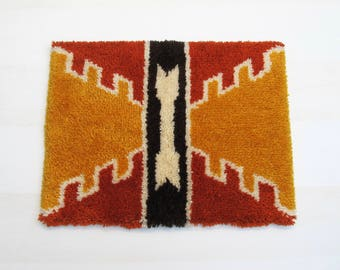 Vintage Woven Wall Hanging, Latch Hook Rug
