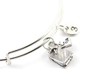 TEA BAG charm bangle, tea bag charm, personalized bangle, initial bangle, personalized bracelet, initial hand stamped, monogram bracelet