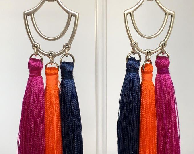 Tassel earrings, Tassel silver drop earrings and pink, orange and bleu tassels