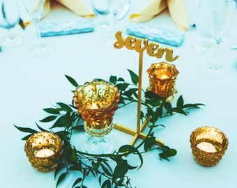 Table Numbers with base.Table Numbers.Gold Table Numbers. Wedding Table Decor.