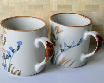 Set of Two, Stoneware, Hand Painted, Floral, Coffee Mugs, Vintage Drinkware