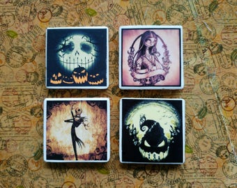 Tim Burton's Nightmare before Christmas Jack Skellington set of 4 handmade tile coasters