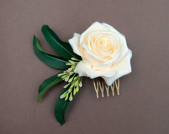 Bridal hair flower, Floral head piece, hair flower, wedding hair flowers, Flower comb