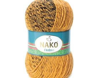 NAKO OMBRE Blend acrylic wool multicolor yarn hand knit yarn Premium acrylic wool melange yarn winter yarn soft yarn ombre yarn jumper yarn