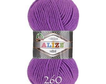 ALIZE SUPERLANA MIDI Blend acrylic wool warm yarn spring winter yarn hand knit yarn Wool Yarn acrylic yarn color choice pink yarn alize wool