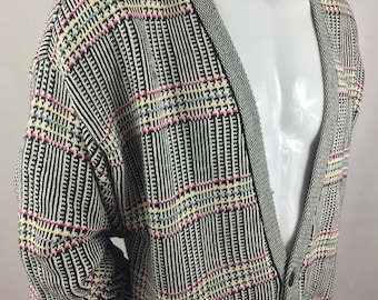 Vintage Alessandro B. Houndstooth Design Cardigan Sweater/New with Tags-Deadstock/Made in USA/Size M