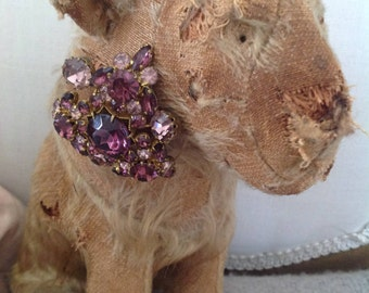 Old vintage shabby stuffed toy lion 1930s with vintage 1940s English brooch
