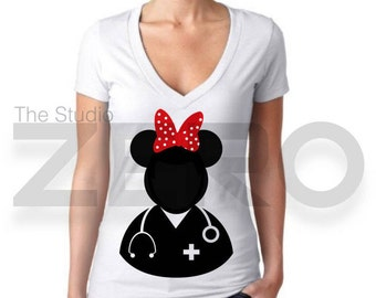 Minnie Mouse Clipart, Doctor Shirt, Disney Iron on Transfer, Digital Clipart, Minnie Doctor Clipart, Doctor Clipart
