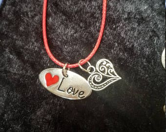 """Silver tone """"Love"""" Heart Charm Necklace"""