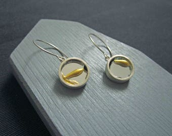 Recovery Earrings encase broken mirror, healed in the kintsugi style, with recycled silver.