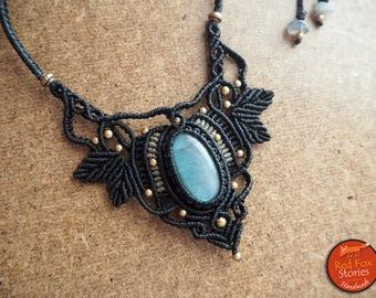 Labradorite Macrame Necklace, macrame jewelry, macrame necklace, labradorite necklace, labradorite macrame, healing jewelry, tribal necklace