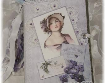 Sweet Violettes Vintage Journal, handmade journal, vintage journal, violets, handmade,