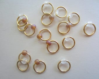 16 Gold Ring Stitch Markers with Frosted Rose Bead / Snagless Round Metal Ring / Knitting