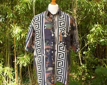 Vintage Italian Print Short Sleeved Shirt  Size - Extra Large