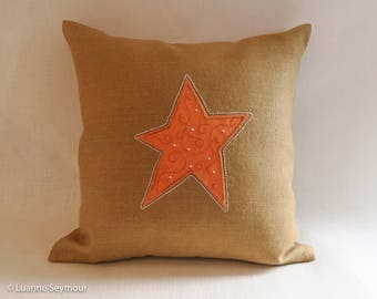 Designer throw pillow, linen pillow, appliqué pillow cover, star pillow cover, embroidered pillow, shabby chic pillow