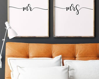 Mr and Mrs Prints   Newlywed Gift   Wedding Sign   Master Bedroom Decor   Mr and Mrs Sign