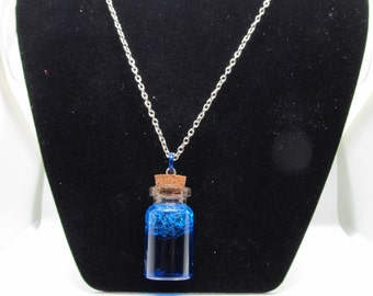 Blue mana potion necklace charm oil and water pendent