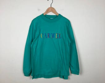 Vintage CARMEL Long Sleeve Size Medium, Green Mock Neck, Green Long Sleeve Top