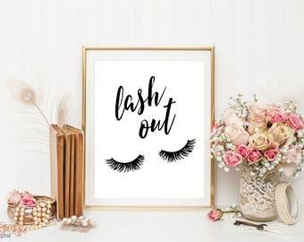 Chic bedroom wall decor, Lash out, funny eyelashes print, makeup print, bathroom art, teen girl room, eyelashes poster, vanity decor