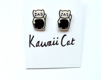 Silver plated Maneki Neko Cat Earrings Cat Earrings Shrink Plastic Cat Earrings Silver Plated earrings Lucky cat