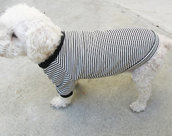 Black & White Striped Raglan Sleeves Dog T- Shirt, Dog Top, Dog Clothing Made in USA for small dogs