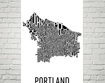 Portland Typography Neighborhood Map Art City Print, Portland Wall Art, Portland Art Poster, Gifts, Map of Portland, Portland OR, Oregon Art