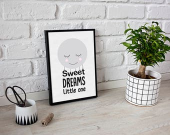 Sweet Dreams Little One - Nursery decor - Nursery Print - moon print - girls room print -nursery wall art - moons - Inspirational Quote