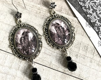 Raven Earrings, Glass Cameo Earrings, Victorian Jewelry, Silver Earrings, Crow Jewelry, Gift For Her, Gothic Jewelry, Handmade Jewelry, Bird