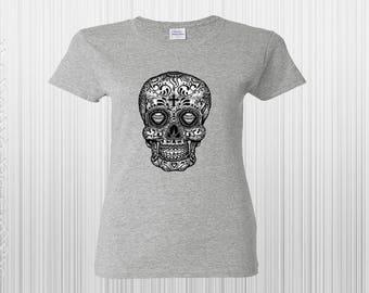Skull Black White Shirt, Sugar Skull Shirt, Day Of The Dead Shirt, Sugar Skull Women's Shirt, Day of the Dead Shirt, Halloween T Shirt