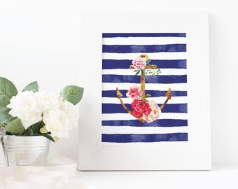 Watercolour Blue Stripes Nautical Printable Wall Art, Floral Anchor, Striped Background,Home Decor, Download, Digital Print, Card, Gift