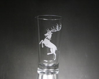 Game Of Thrones Baratheon House Etched Glass, GOT, Personalized Gift, Custom Gift, Custom Glass, Glassware.