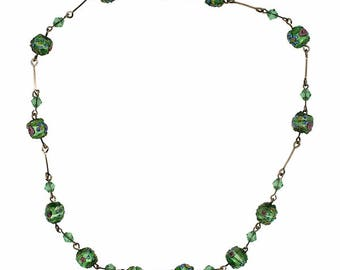 1930s Green, Pink and Blue Venetian Glass Wedding Cake Bead Vintage Necklace