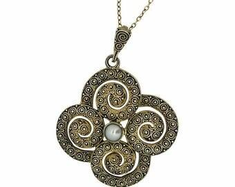 Theodor Fahrner 1930s Silver Filigree Vintage Pendant Necklace