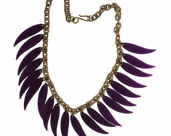1930s Purple Celluloid Leaves and Gilt Metal Vintage Necklace