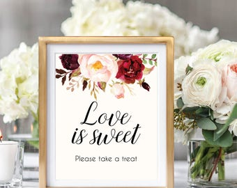 Love Is Sweet Please Take A Treat, Dessert Table Sign, Dessert Printable, Wedding Sign Printable, Dessert Bar Sign, Ivory, Marsala, #B510