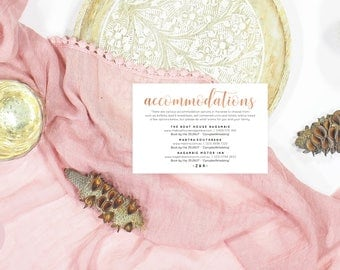 Rose gold accommodations card, Rose gold enclosure card, Rose gold wedding cards, Printable accommodation card, Editable accommodations card