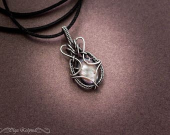 Silver pendant Mens pendant Mother of pearl Wire wrapped pendant Mens necklace Nacre pendant Silver necklace gift for him