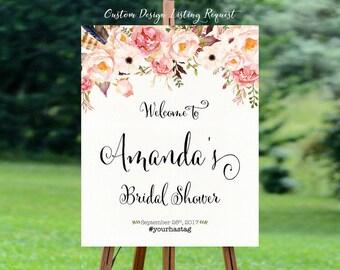 Wedding shower signs, bridal shower banner, bridal shower decorations, bridal shower welcome sign, bridal shower sign - US_BS0103a