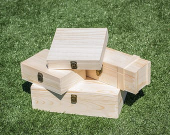 Wood Memory Box, Keepsake Box, Unfinished Wood Gift Box, Wedding Groomsmen Gift Box, Craft Box, Engrave Personalize Case