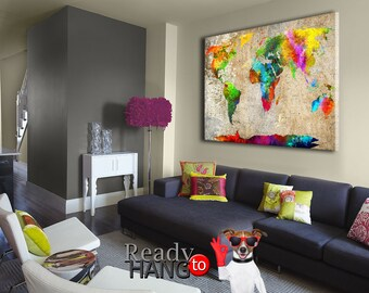 Colorful Map Canvas World Art Wall