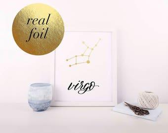 Virgo - Virgo Print - Zodiac Constellation - Foil Print - Zodiac Print - Hand Lettered Print - Astrology Print - Constellation Print