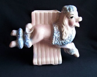 Pink Poodle Planter by Ceramic Fashions by OPCO, Vintage Pink and Blue Poodle Planter