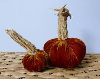 Set of 2 Golden-Orange Plush Velvet Pumpkins
