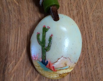Hand painted Saguaro, Desert Scene necklace.