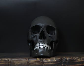 The Silversmith - Matte Black Full Scale Life Size Realistic Faux Human Skull with Removable Jaw & Silver Teeth / Art / Ornament / Decor