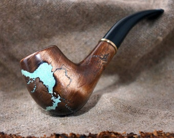 "Smoking pipe ""Lightning""with Turquoise  -Tobacco smoking pipes -Exclusive Wood Pipe -Smoking bowl-Tobacco bowl-Christmas gift"