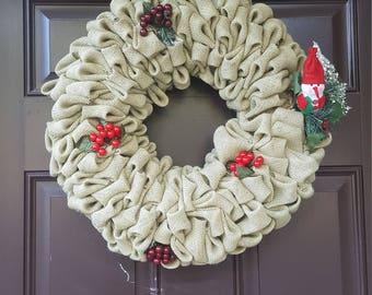 Santa Burlap Wreath